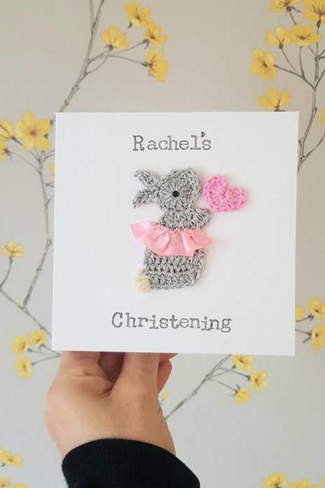 Cute Crochet Greeting Card, Bunny Ballerina Personalised Handmade Christening Card, New Baby Card, Cute Cards, Bunny Birthday Card, Kids Birthday Card, Baby Girl Card