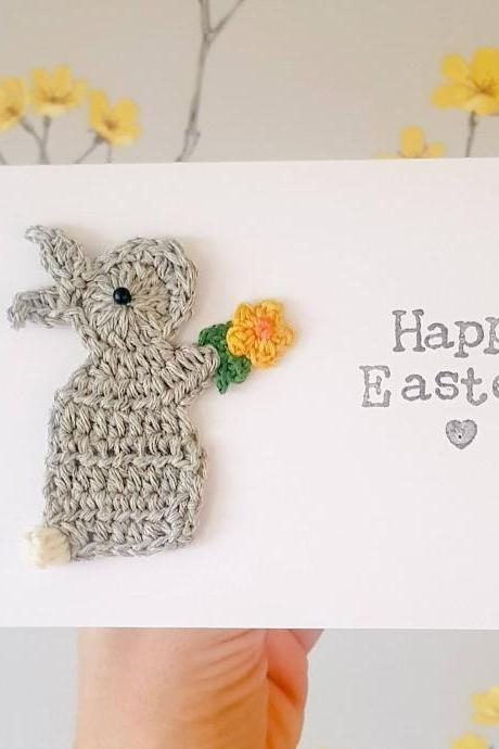 Personalised Handmade Easter Bunny Crochet Greeting Card, Cute Easter Crochet Card, Bunny Card, Religious Cards, Bunny Birthday Card