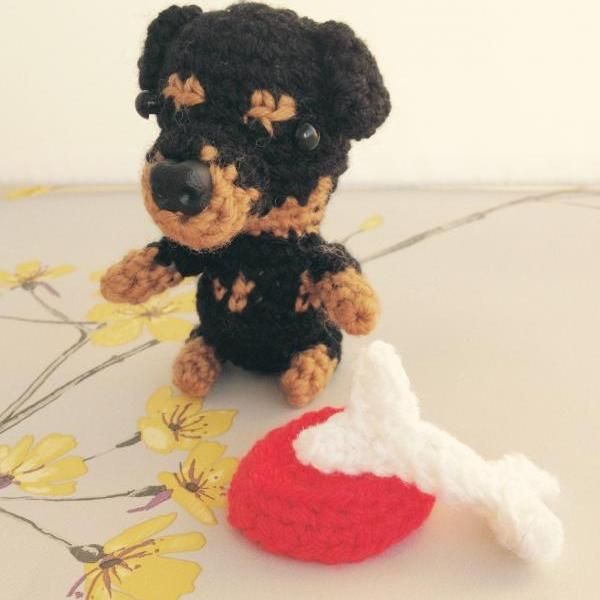 Mini Rottweiler Crochet Dog with Bone & Bowl, Crochet Toy Animal, Rottweiler gift, Handmade Gift Boxed, Dog Lovers Gift,