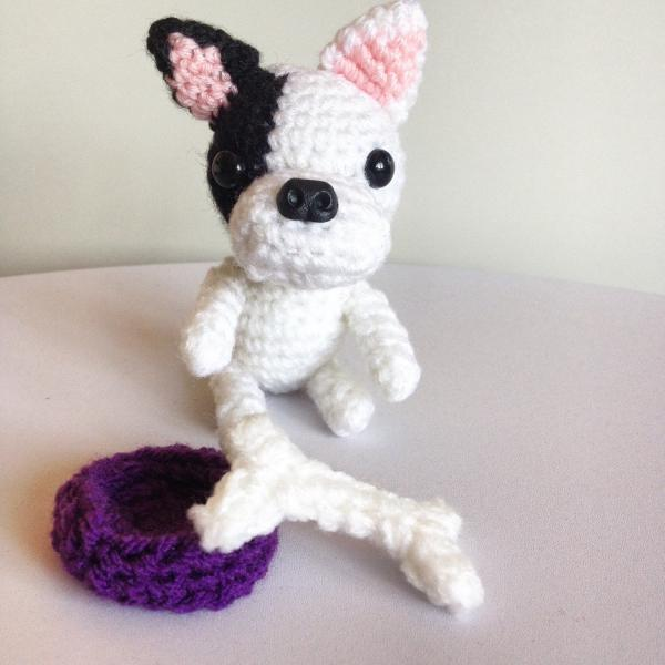 Mini French Bulldog Crochet Dog with Bone & Bowl, Crochet Toy Animal, Handmade Gift Boxed, Bulldog gift